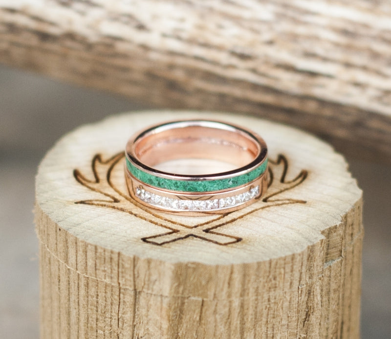 CUSTOM SOLDERED WEDDING BANDS FEATURING MALACHITE & DIAMONDS ON 14K GOLD (available in 14K white, rose, or yellow gold) - Staghead Designs - Antler Rings By Staghead Designs