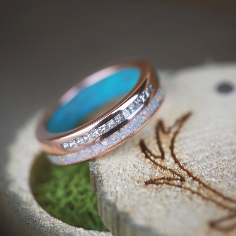 WOMEN'S 14K GOLD RING WITH OPAL, DIAMOND, AND TURQUOISE INLAYS (available in 14K white, rose or yellow gold) - Staghead Designs - Antler Rings By Staghead Designs