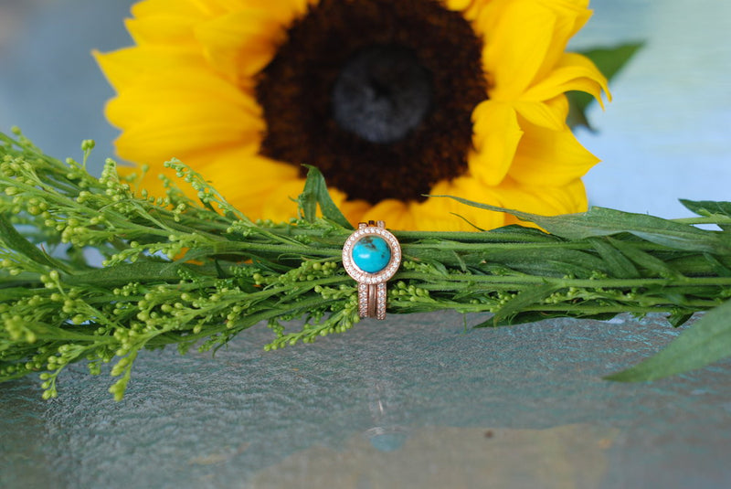 """TERRA"" ENGAGEMENT RING IN 14K GOLD & TURQUOISE WITH DIAMOND HALO (available in 14K rose, white or yellow gold) -  Custom Rings Handcrafted By Staghead Designs"
