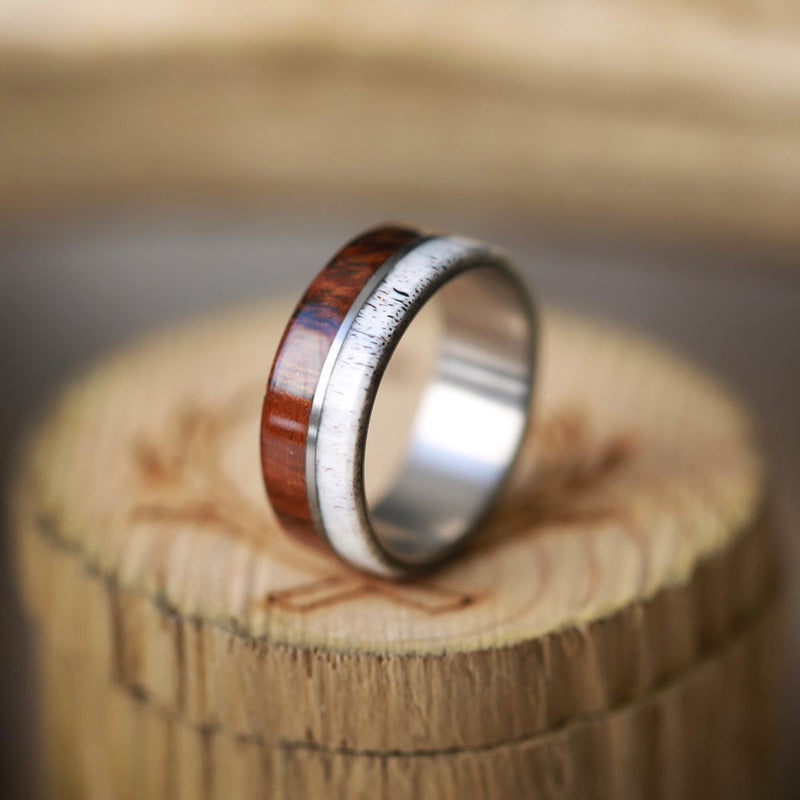 """GOLDEN"" IN IRONWOOD & ELK ANTLER (AVAILABLE IN TITANIUM, SILVER, BLACK ZIRCONIUM & 14K WHITE, ROSE OR YELLOW GOLD) - Staghead Designs - Antler Rings By Staghead Designs"