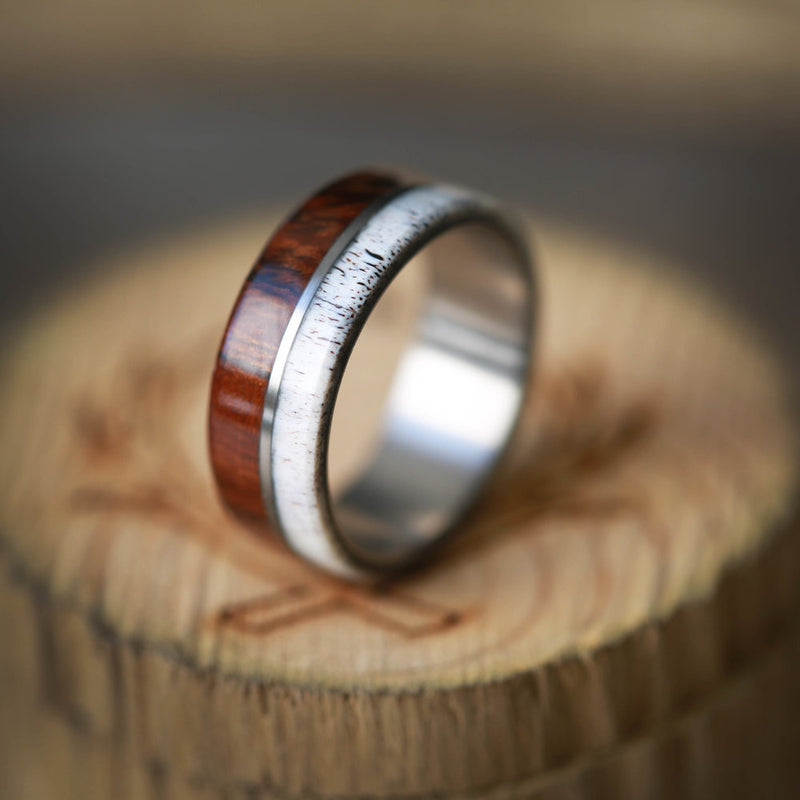 """GOLDEN"" IN IRONWOOD & ELK ANTLER (available in titanium, silver, black zirconium & 14K white, yellow, or rose gold) -  Custom Rings Handcrafted By Staghead Designs"