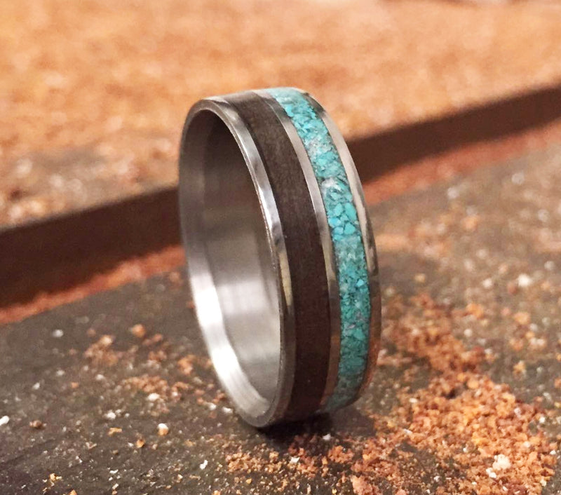 BLACK WALNUT & TURQUOISE WEDDING BAND (available in titanium, silver, black zirconium, damascus steel & 14K white, rose, or yellow gold) -  Custom Rings Handcrafted By Staghead Designs