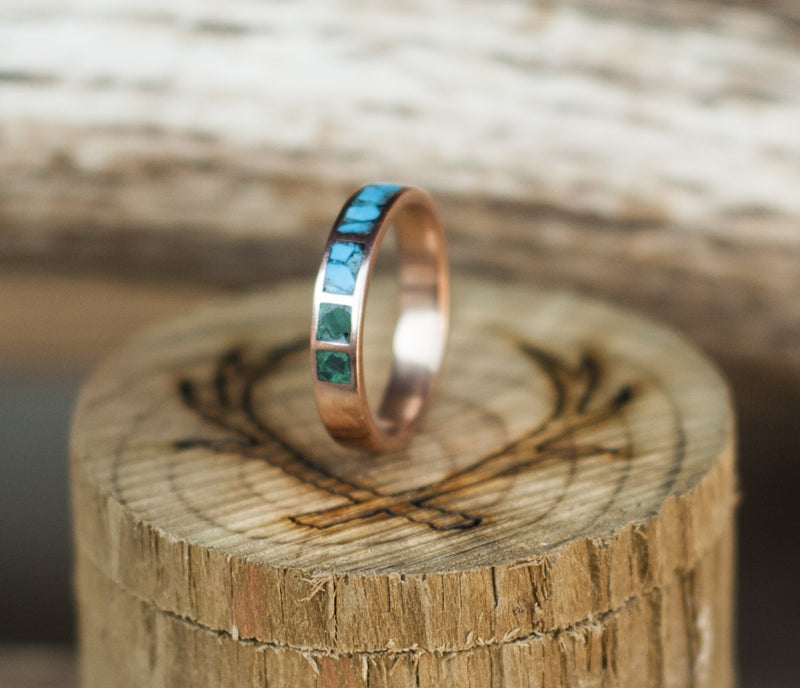 CUSTOM CAST TURQUOISE & MALACHITE WEDDING BAND (available in silver & 14K white, rose, or yellow gold) - Staghead Designs - Antler Rings By Staghead Designs
