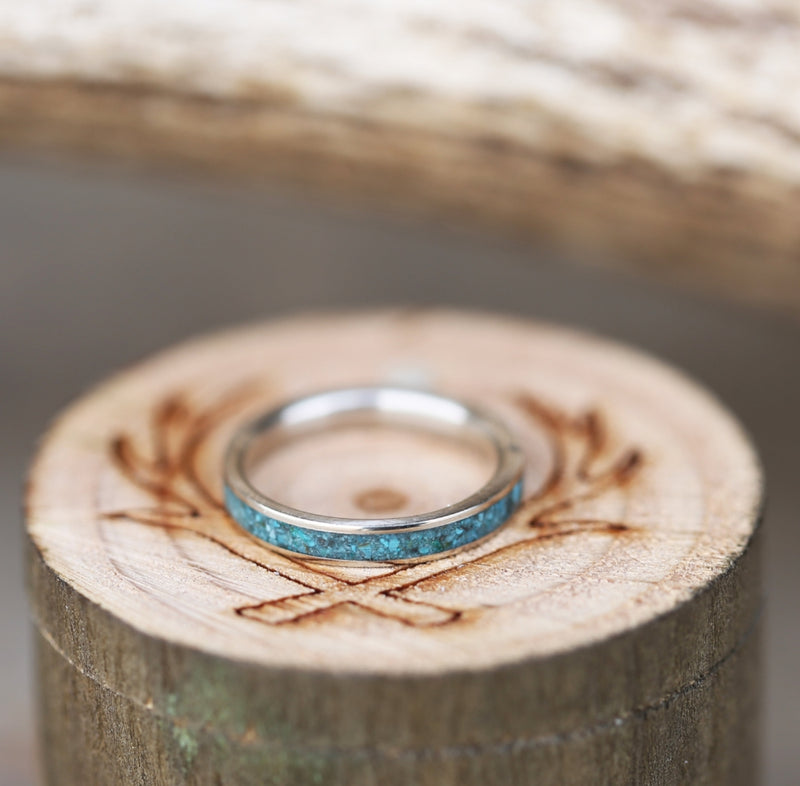 14K GOLD & TURQUOISE STACKING WEDDING BAND (available in 14K white, rose or yellow gold) - Staghead Designs - Antler Rings By Staghead Designs