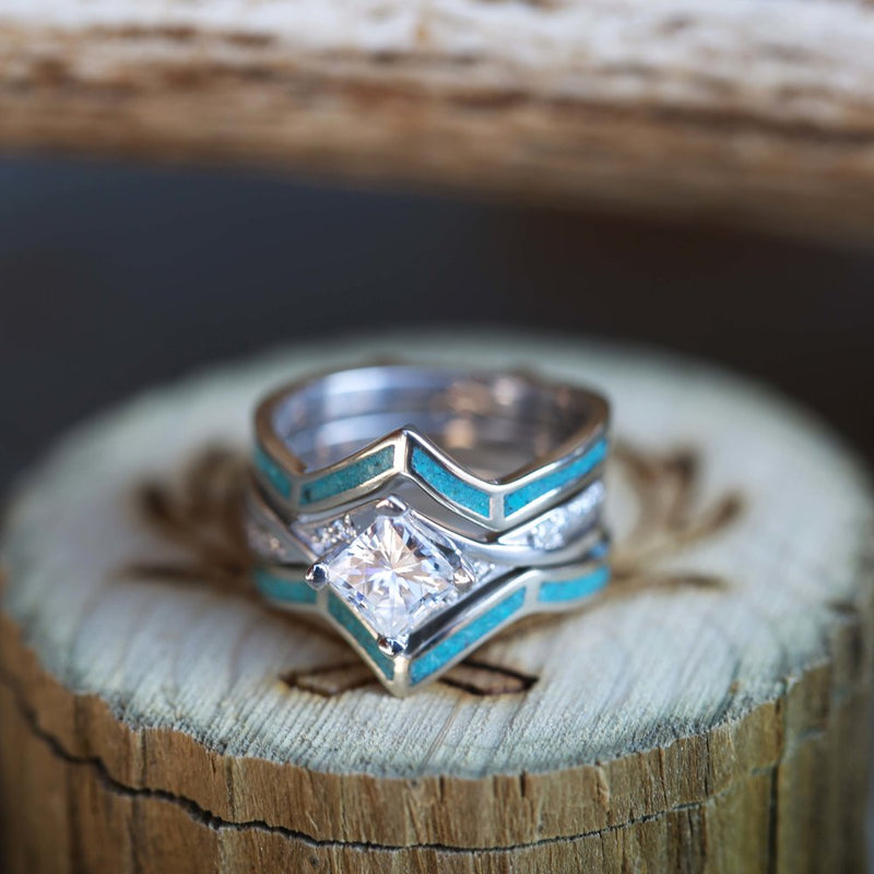 1ct ENGAGEMENT RING WITH TURQUOISE RING GUARD IN 14K GOLD (available in 14K rose, yellow, or white gold) -  Custom Rings Handcrafted By Staghead Designs