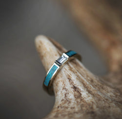 WHITE SAPPHIRE WEDDING BAND WITH TURQUOISE INLAYS (available in 14K rose, yellow, or white gold) -  Custom Rings Handcrafted By Staghead Designs