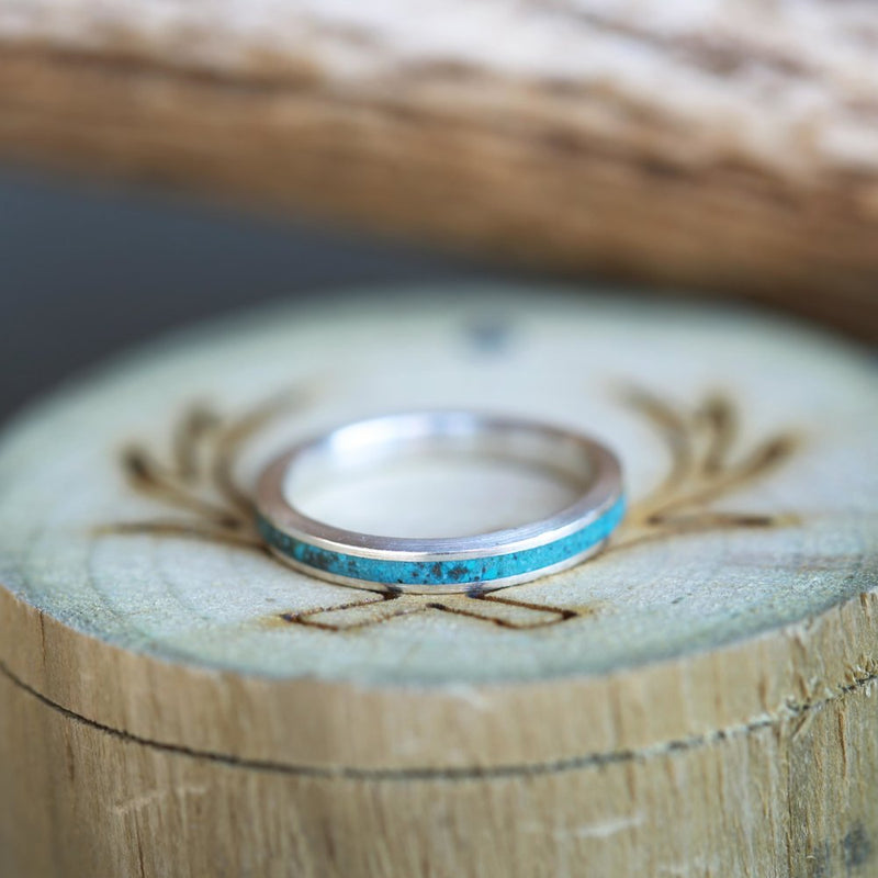 """VERTIGO"" - MATCHING SET OF SILVER & TURQUOISE WEDDING BANDS (available in silver, black zirconium, damascus steel & 14K white, rose or yellow gold) -  Custom Rings Handcrafted By Staghead Designs"