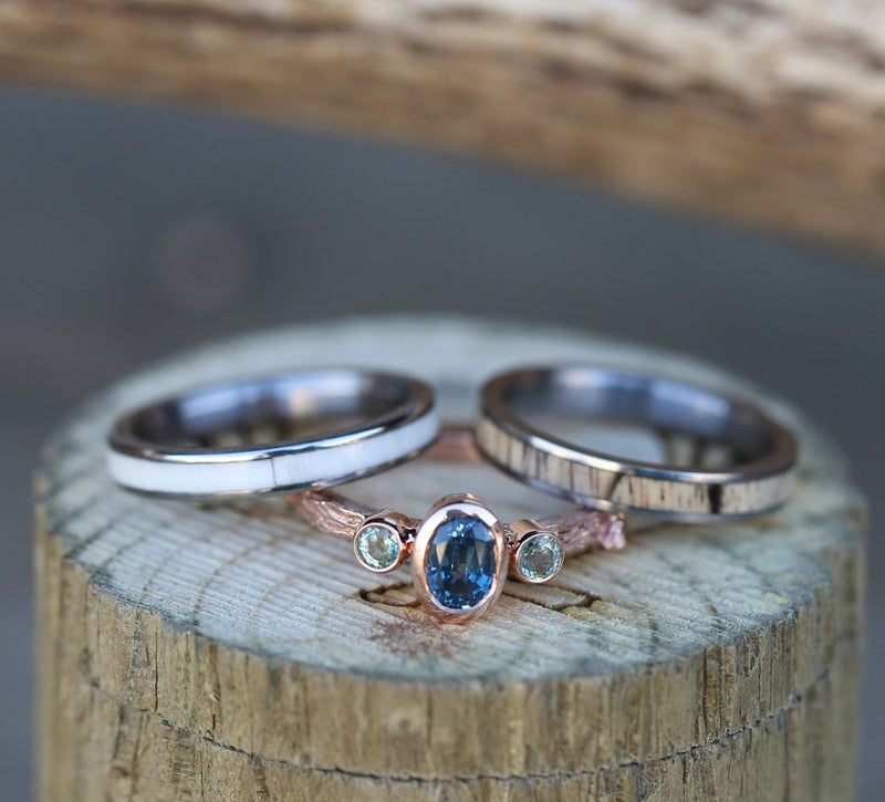 TWIG STYLE ENGAGEMENT RING WITH SAPPHIRE STONES (available in 14K yellow, rose, and white gold) - Staghead Designs - Antler Rings By Staghead Designs