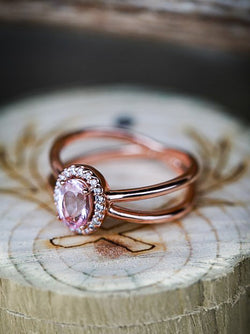 """FRENCHY"" ENGAGEMENT RING IN 14K GOLD WITH MORGANITE & A DIAMOND HALO (available in 14K rose, white, or yellow gold) -  Custom Rings Handcrafted By Staghead Designs"