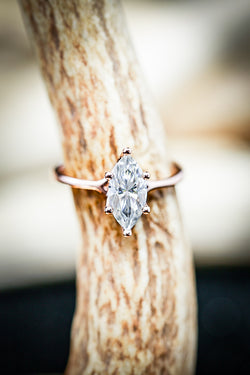 2ct MOISSANITE STONE WITH A MARQUISE CUT (available in 14K rose, white, or yellow gold) -  Custom Rings Handcrafted By Staghead Designs