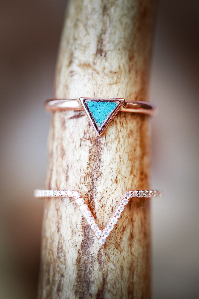 """MERA"" WITH TURQUOISE & DIAMOND V-SHAPED STACKER IN 14K GOLD (available in 14K white, yellow & rose gold) - Staghead Designs - Antler Rings By Staghead Designs"
