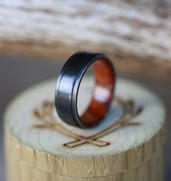 IRONWOOD LINED BLACK ZIRCONIUM WEDDING BAND (available in silver, black zirconium, damascus steel & 14K white, yellow, or rose gold) - Staghead Designs - Antler Rings By Staghead Designs