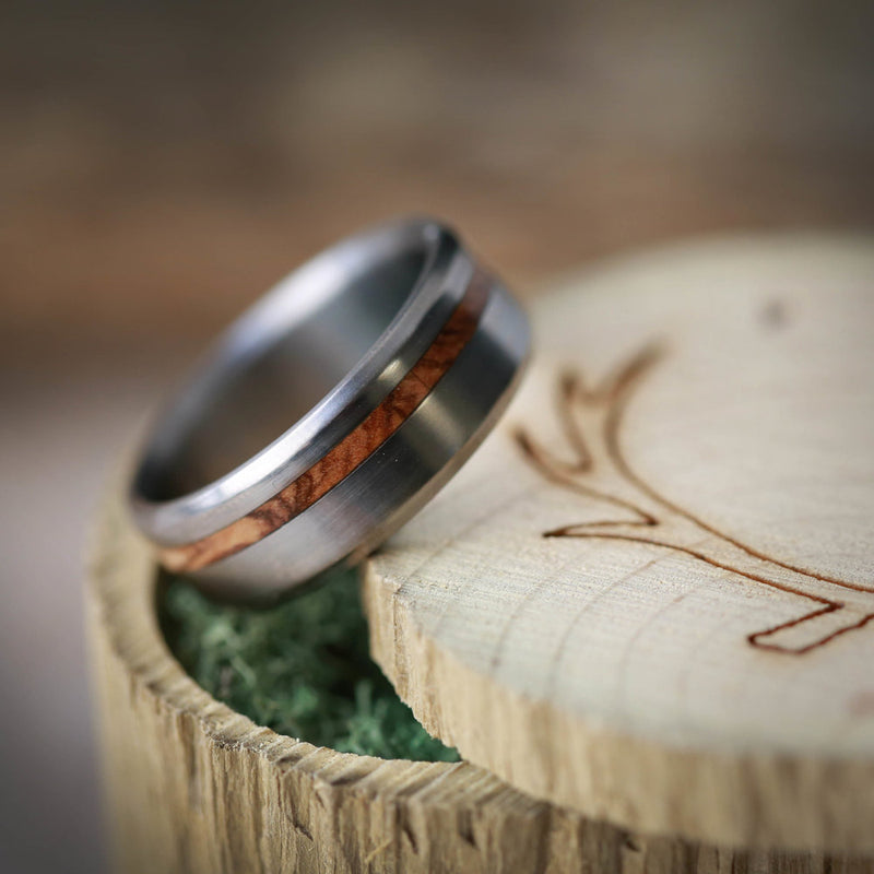 """VERTIGO"" IN BETHLEHEM OLIVE WOOD AND TITANIUM (available in titanium, silver, black zirconium, damascus steel & 14K white, rose or yellow gold) - Staghead Designs - Antler Rings By Staghead Designs"