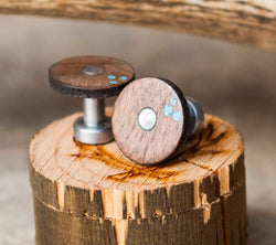 WALNUT & TURQUOISE CUFFLINKS WITH IRON BASES (available with gold plated bases) -  Custom Rings Handcrafted By Staghead Designs