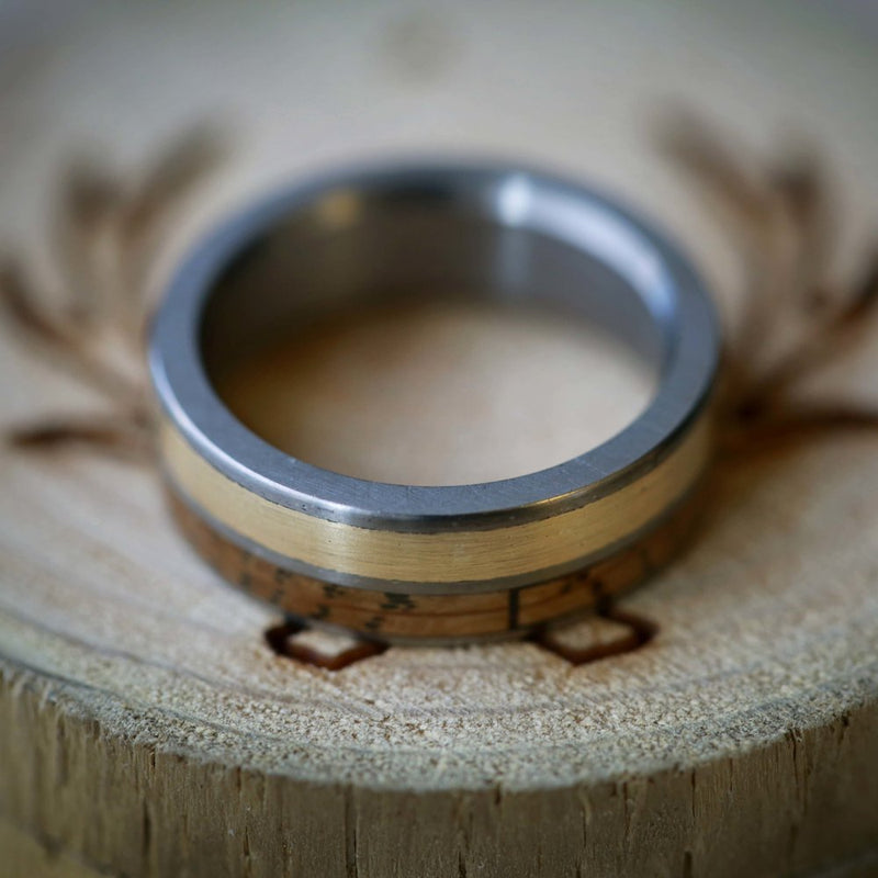 WHISKEY BARREL & 14K GOLD WEDDING BAND (available in titanium, silver, black zirconium, damascus steel & 14K white, rose, or yellow gold) - Staghead Designs - Antler Rings By Staghead Designs