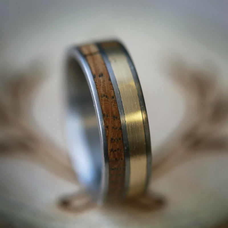WHISKEY BARREL & 14K GOLD WEDDING BAND (available in titanium, silver, black zirconium, damascus steel & 14K white, rose, or yellow gold) -  Custom Rings Handcrafted By Staghead Designs