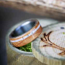 """REMMY"" WEDDING RING IN AUTHENTIC WHISKEY BARREL WOOD & ELK ANTLER INLAY (available in titanium, silver, black zirconium & 14K white, rose, or yellow gold) - Staghead Designs - Antler Rings By Staghead Designs"