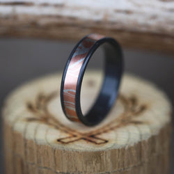 """RAINIER"" IN MOKUME GANE COPPER SET ON BLACK ZIRCONIUM (available in black zirconium, silver, damascus steel & 14K white, yellow, or rose gold) -  Custom Rings Handcrafted By Staghead Designs"