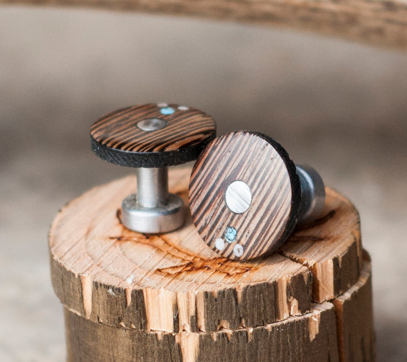 WENGE WOOD CUFFLINKS W/ ELK ANTLER & TURQUOISE INLAYS (available with gold plated bases) -  Custom Rings Handcrafted By Staghead Designs