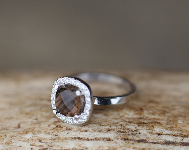 CUSTOM DESIGNED SMOKEY QUARTZ ENGAGEMENT RING WITH DIAMOND HALO (available in 14K rose, yellow, or white gold) - Staghead Designs - Antler Rings By Staghead Designs