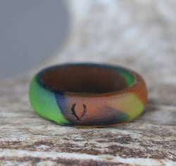 WOMEN'S CAMO SILICONE WEDDING BAND -  Custom Rings Handcrafted By Staghead Designs