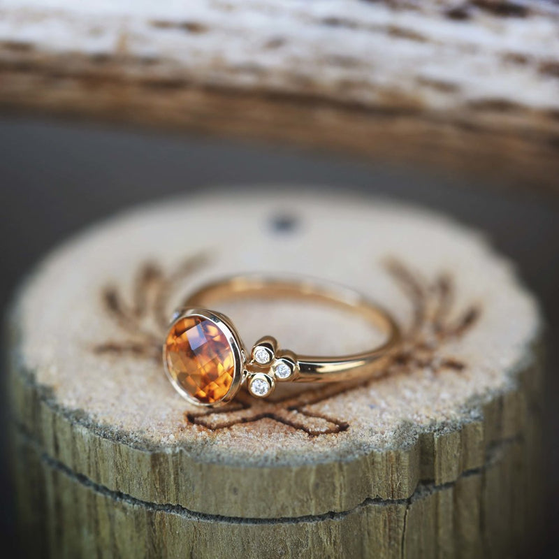 WOMEN'S CITRINE STONE WITH 3 SIDE ACCENT DIAMONDS ON A 14K GOLD BAND (available in 14K yellow gold) -  Custom Rings Handcrafted By Staghead Designs
