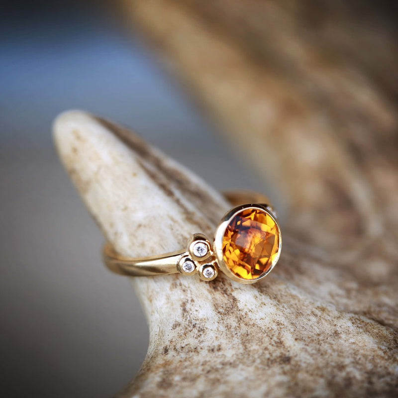 WOMEN'S CITRINE STONE WITH 3 SIDE ACCENT DIAMONDS ON A 14K GOLD BAND (available in 14K yellow gold) - Staghead Designs - Antler Rings By Staghead Designs