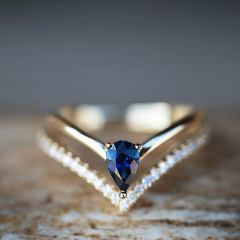 WOMEN'S ENGAGEMENT RING WITH A BLUE SAPPHIRE AND DIAMONDS (available in 14K white, yellow & rose gold) - Staghead Designs - Antler Rings By Staghead Designs
