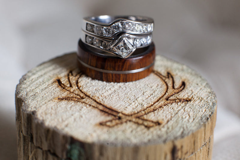 """GOLDEN"" IN IRONWOOD & TITANIUM - WEDDING BAND FOR MEN (available in titanium, silver, black zirconium & 14K white, rose or yellow gold) -  Custom Rings Handcrafted By Staghead Designs"