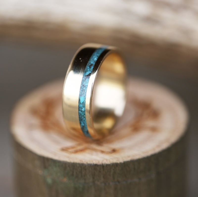 """VERTIGO"" IN 14K GOLD WITH TURQUOISE INLAY (available in 14K white, rose, or yellow gold) - Staghead Designs - Antler Rings By Staghead Designs"