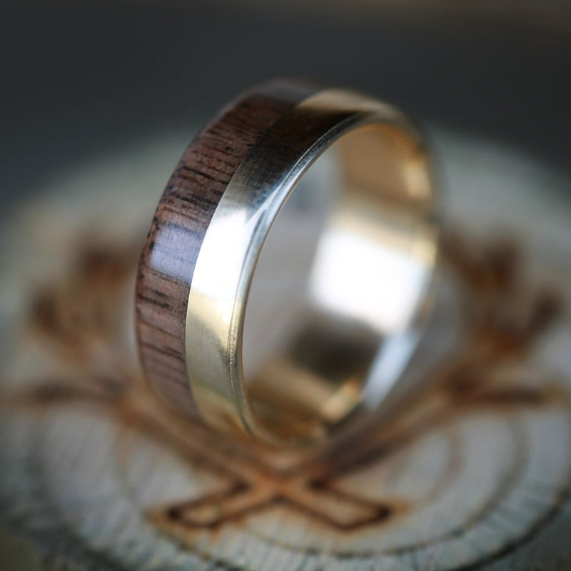 """TANNER"" IN 14K GOLD & BLACK WALNUT WOOD (available in 14K white, rose or yellow gold) - Staghead Designs - Antler Rings By Staghead Designs"