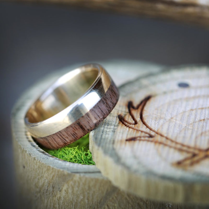"""TANNER"" IN 14K GOLD & BLACK WALNUT WOOD (available in 14K white, rose or yellow gold) -  Custom Rings Handcrafted By Staghead Designs"