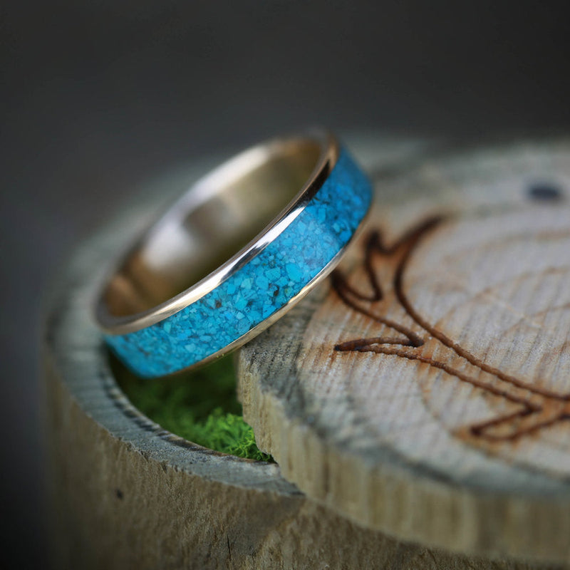 """RAINIER"" MEN'S OR WOMEN'S TURQUOISE WEDDING BAND (available in titanium, silver, black zirconium, damascus steel & 14K white, rose, or yellow gold) - Staghead Designs - Antler Rings By Staghead Designs"