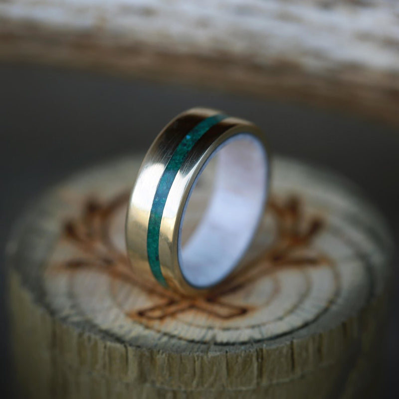 """VERTIGO"" IN 14K GOLD WITH MALACHITE INLAY & ANTLER LINING (available in 14K rose, yellow or white gold) - Staghead Designs - Antler Rings By Staghead Designs"