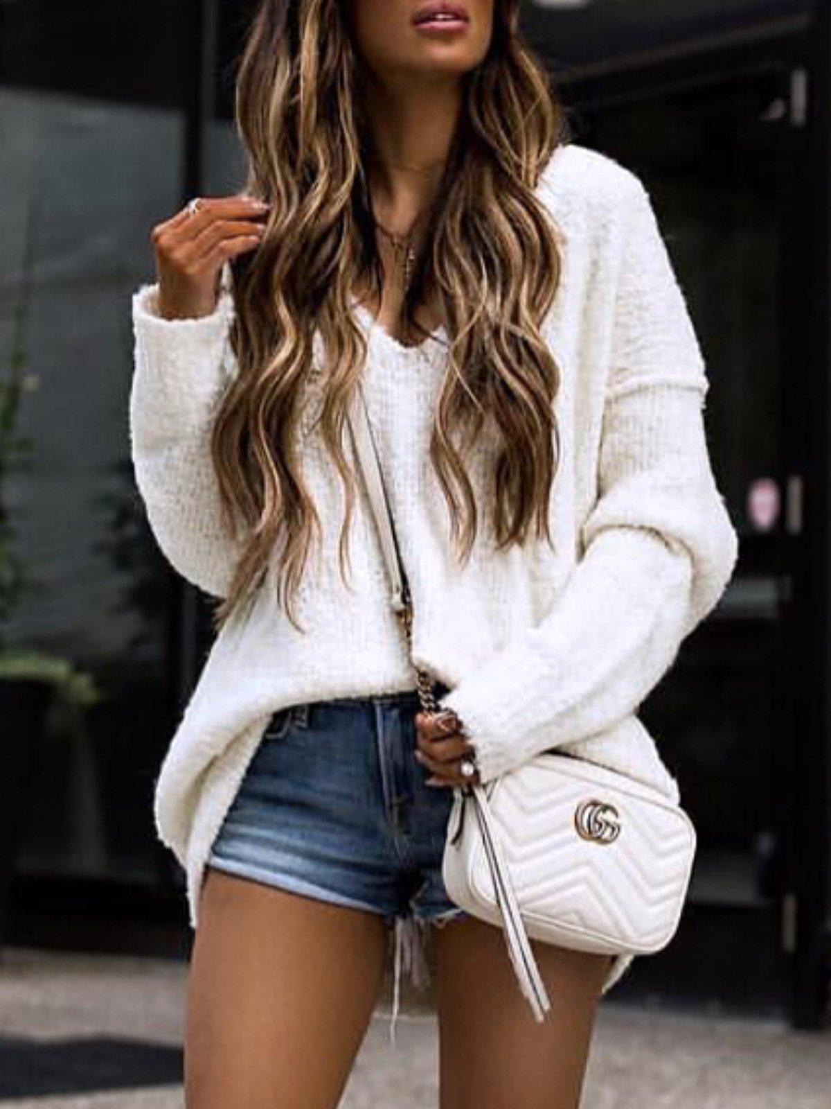 White Long Sleeve Knitted V Neck plus size Sweater