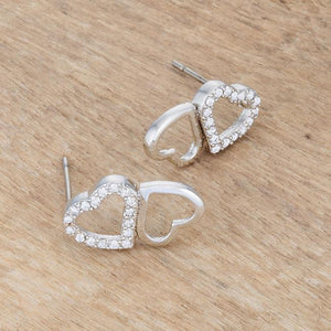 Melded Hearts Rhodium and CZ Stud Earrings