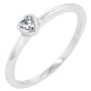 Clear Heart Solitaire Ring