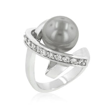 Load image into Gallery viewer, Rhodium Plated Knotted Simulated Pearl Ring