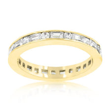 Load image into Gallery viewer, Alternating Cubic Zirconia Eternity Band in Goldtone Finish