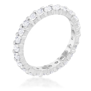 Cubic Zirconia Sterling Silver Eternity Band
