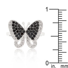 Load image into Gallery viewer, Black and White Cubic Zirconia Butterfly Ring