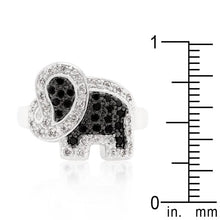 Load image into Gallery viewer, Black and White Cubic Zirconia Elephant Ring
