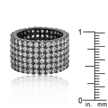Load image into Gallery viewer, Hematite Wide Pave Cubic Zirconia Ring