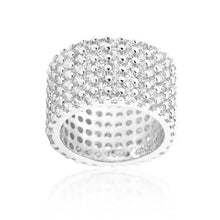 Load image into Gallery viewer, Rhodium Plated Finishd Wide Pave Cubic Zirconia Ring