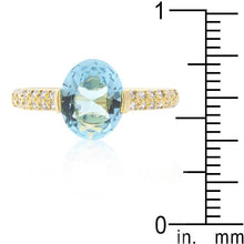 Load image into Gallery viewer, Aqua Oval Cubic Zirconia Engagement Ring