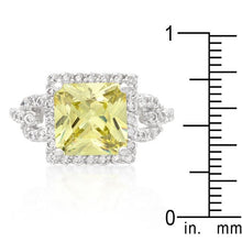 Load image into Gallery viewer, Halo Style Princess Cut Peridot Cocktail Ring