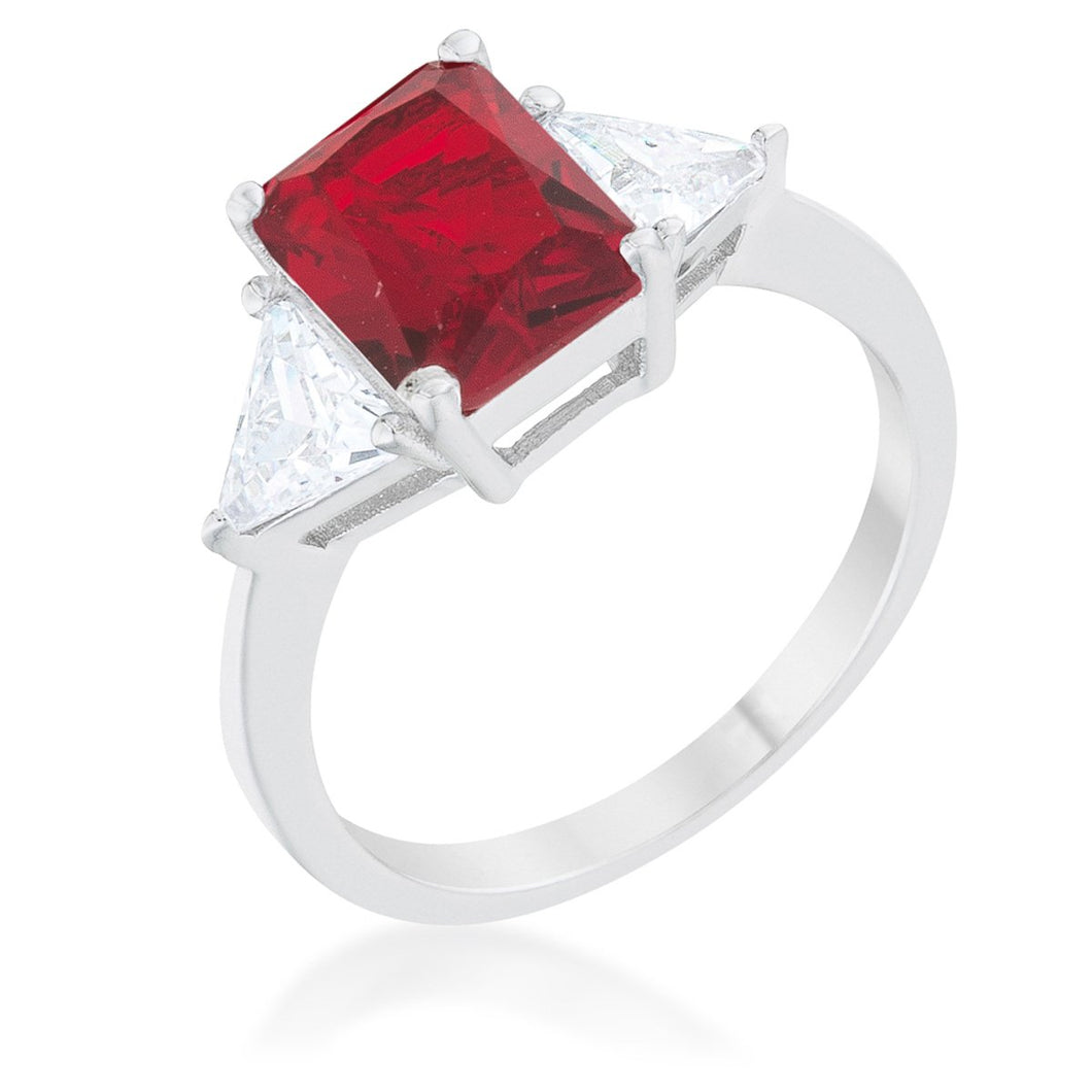 Classic Ruby Rhodium Engagement Ring