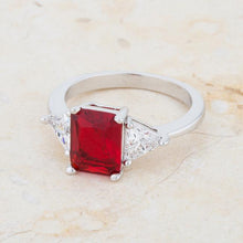 Load image into Gallery viewer, Classic Ruby Rhodium Engagement Ring