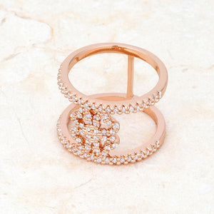 Lauren 0.4ct CZ Rose Gold Delicate Clover Wrap Ring