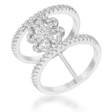 Load image into Gallery viewer, Lauren 0.4ct CZ Rhodium Delicate Clover Wrap Ring